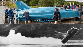 300 mph Bluebird jet boat returns to water 51 years after fatal crash