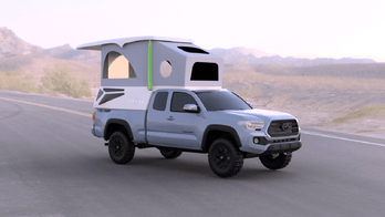 Leentu is a lightweight pop-up camper built for the Toyota Tacoma