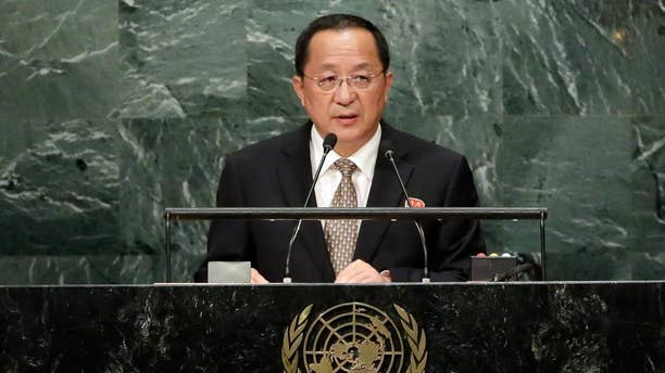 North Korea's Foreign Minister Ri Yong Ho is seen during last year's speech to the U.N. General Assembly, Sept. 23, 2016.