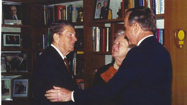 George and Barbara Bush with Ronald Reagan in his Los Angeles office, April 23, 1996. Former President Reagan had already announced to the public that he had Alzheimer's Disease.
