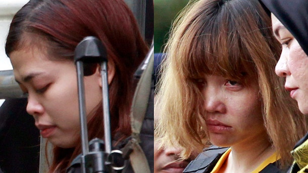 Indonesian suspect Siti Aisyah, left, and Vietnamese suspect Doan Thi Huong, both suspects in the killing of Kim Jong Nam, North Korean leader Kim Jong Un's estranged half brother.