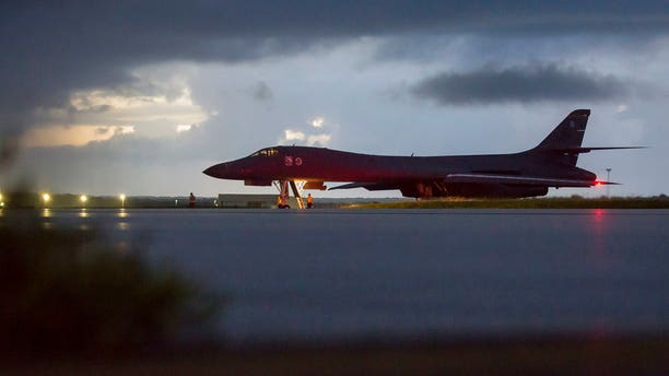 The Pentagon says B-1B bombers from Guam and F-15 fighter escorts from Okinawa, Japan, have flown a mission in international airspace over the waters east of North Korea.  (U.S. Air force via AP)