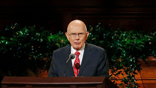 Dallin H. Oaks, member of a top governing body called the Quorum of the Twelve Apostles of The Church of Jesus Christ of Latter-day Saints speak during the morning session of the two-day Mormon church conference Saturday, Sept. 30, 2017, in Salt Lake City.(AP Photo/Rick Bowmer)