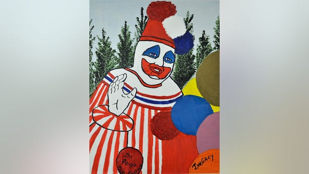 """Gacy would dress up as """"Pogo the Clown"""" for children's parties, the auction site said. He later became known as the """"Killer Crown"""" for his murders of at least 33 people."""