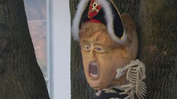 A Connecticut homeowner has turned his Halloween display into a political message.