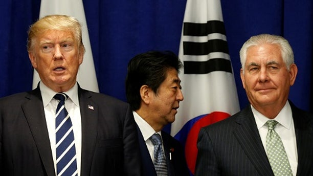Secretary of State Rex Tillerson, right, said he is not sure what the U.S. response would be if North Korea tested a hydrogen bomb.