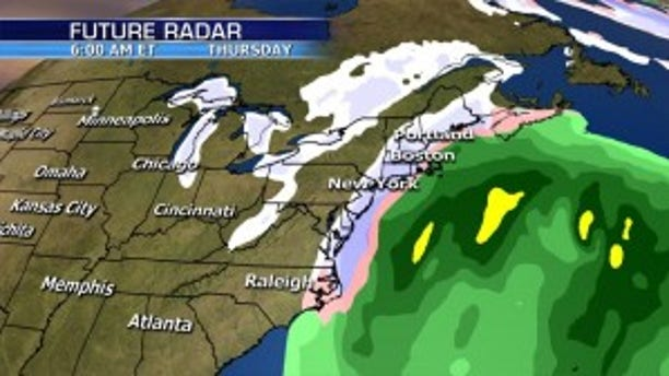 The forecast track of a possible snowstorm that could affect the Northeast by Thursday.