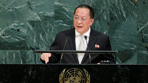 North Korean Foreign Minister Ri Yong-ho said Pyongyang had the right to shoot down U.S. bombers in its airspace.