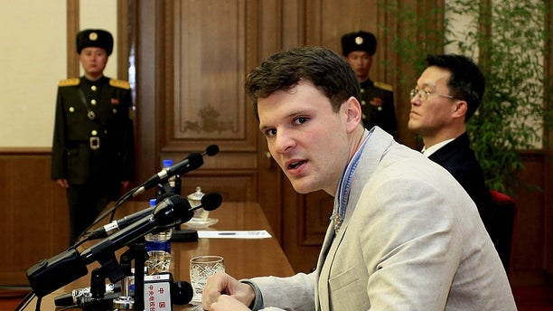 Otto Warmbier speaks to reporters in North Korea in February 2016 before he was sentenced to 15 years of hard labor.