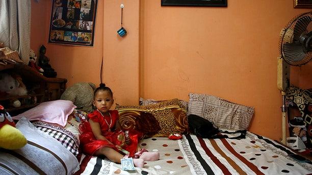 Trishna Shakya, 3, will be Nepal's new living goddess until just before puberty.