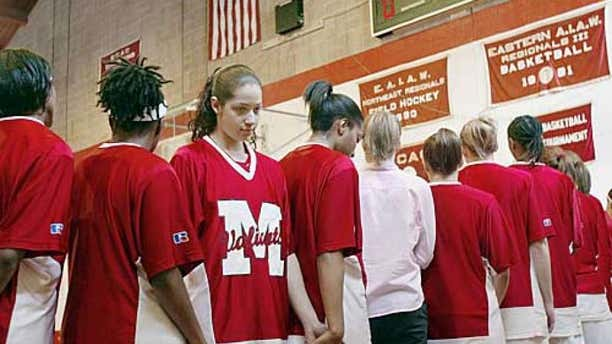 Toni Smith is seen turning her back on the American flag during the national anthem in 2003.