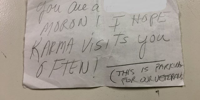 Rod Boyle, a 20-year U.S. Navy veteran, found the nasty note on his car in parked in a veteran-designated spot at a Harris Teeter on Saturday. (Rod Boyle)