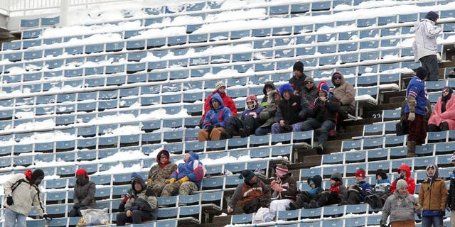ORCHARD PARK, NY - DECEMBER 30: View of fans in snow-covered seats during the game against the New York Jets and the Buffalo Bills when the Buffalo Bills host the New York Jets at Ralph Wilson Stadium on December 30, 2012 in Orchard Park, New York. (Photo by Al Pereira/New York Jets/Getty Images)
