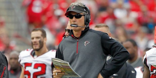 Nov 9, 2014; Tampa, FL, USA; Atlanta Falcons offensive coordinator Dirk Koetter against the Tampa Bay Buccaneers during the second half at Raymond James Stadium. Atlanta Falcons defeated the Tampa Bay Buccaneers 27-17. Mandatory Credit: Kim Klement-USA TODAY Sports