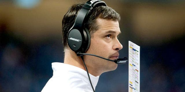 Nov 27, 2014; Detroit, MI, USA; Detroit Lions offensive coordinator Joe Lombardi during the third quarter against the Chicago Bears at Ford Field. Detroit won 34-17. Mandatory Credit: Tim Fuller-USA TODAY Sports