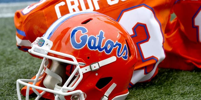 Jan 3, 2015; Birmingham, AL, USA; A detailed view of the Florida Gators helmet prior to the game against the East Carolina Pirates in the 2015 Birmingham Bowl at Legion Field. Mandatory Credit: Mike DiNovo-USA TODAY Sports