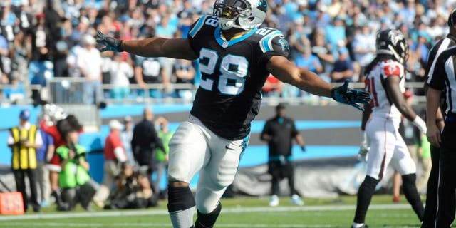 Dec 13, 2015; Charlotte, NC, USA; Carolina Panthers running back Jonathan Stewart (28) celebrates after scoring a touchdown during the first half of the game against the Atlanta Falcons at Bank of America Stadium. Mandatory Credit: Sam Sharpe-USA TODAY Sports