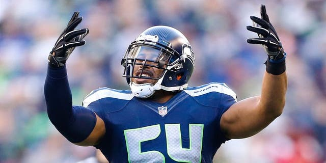 Nov 23, 2014; Seattle, WA, USA; Seattle Seahawks middle linebacker Bobby Wagner (54) dances during a timeout against the Arizona Cardinals during the third quarter at CenturyLink Field. Mandatory Credit: Joe Nicholson-USA TODAY Sports