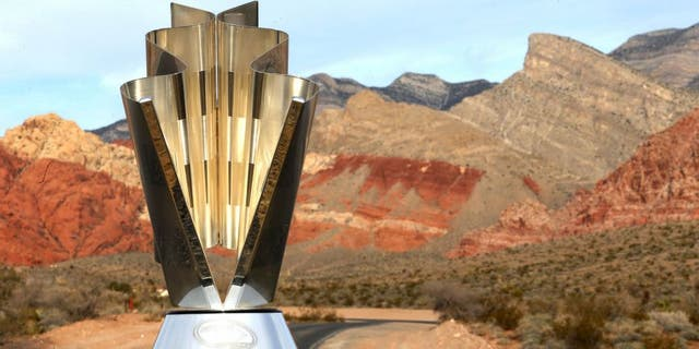 LAS VEGAS, NV - DECEMBER 03: The NASCAR Sprint Cup Series trophy awarded to champion Kyle Busch is seen at Red Rock Canyon National Conservation Area on December 3, 2015 in Las Vegas, Nevada. (Photo by Chris Graythen/Getty Images)