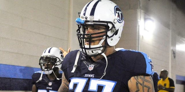 Sep 3, 2015; Nashville, TN, USA; Tennessee Titans offensive tackle Taylor Lewan (77) prior to the game against the Minnesota Vikings at Nissan Stadium. Mandatory Credit: Christopher Hanewinckel-USA TODAY Sports