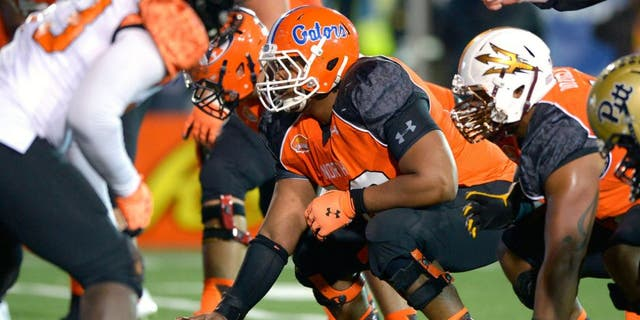 Jan 24, 2015; Mobile, AL, USA; North squad offensive center Max Garcia of Florida (66) waits to snap the ball against the South squad in the fourth quarter of the Senior Bowl at Ladd-Peebles Stadium. The North won, 34-13. Mandatory Credit: Glenn Andrews-USA TODAY Sports