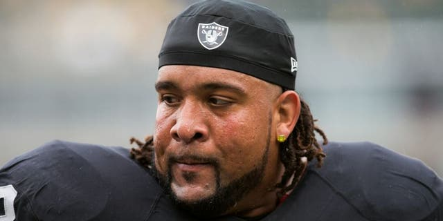 Dec 6, 2015; Oakland, CA, USA; Oakland Raiders tackle Donald Penn (72) warms up before the game against the Kansas City Chiefs at O.co Coliseum. Mandatory Credit: Kelley L Cox-USA TODAY Sports