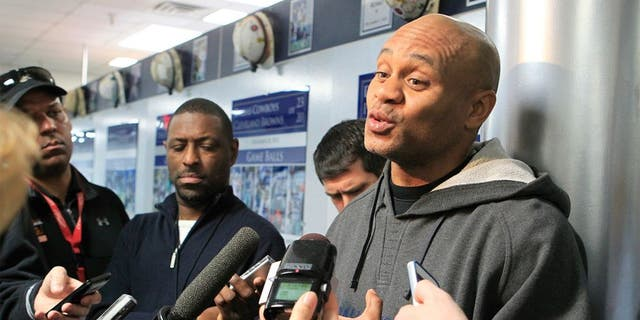 Dallas Cowboys secondary coach Jerome Henderson talks with the media during an introductory interview session of coaching staff members, Thursday, February 14, 2013 at Valley Ranch in Irving, Texas. (John Rhodes/Fort Worth Star-Telegram/MCT)