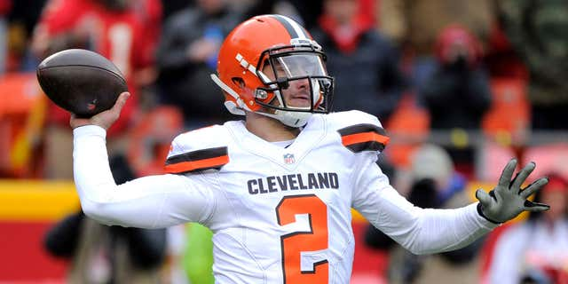 FILE - In this Dec. 27, 2015, file photo, Cleveland Browns quarterback Johnny Manziel (2) throws during the first half of an NFL football game against the Kansas City Chiefs in Kansas City, Mo.
