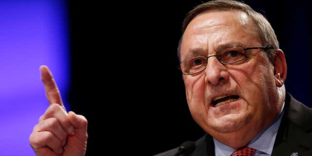 FILE- In this Jan. 7, 2015, file photo, Republican Gov. Paul LePage delivers his inauguration address in Augusta, Maine.