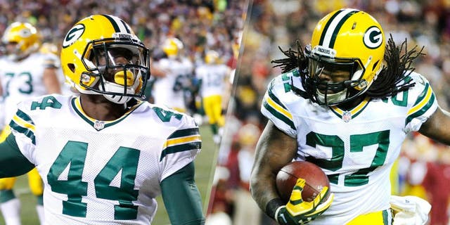 Jan 10, 2016; Landover, MD, USA; Green Bay Packers running back Eddie Lacy (27) carries the ball against the Washington Redskins during the second half in a NFC Wild Card playoff football game at FedEx Field. Mandatory Credit: Brad Mills-USA TODAY Sports Jan 10, 2016; Landover, MD, USA; Green Bay Packers running back James Starks (44) celebrates after scoring a touchdown against the Washington Redskins during the second half in a NFC Wild Card playoff football game at FedEx Field. Mandatory Credit: Geoff Burke-USA TODAY Sports