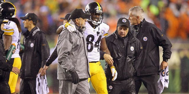 CINCINNATI, OH - JANUARY 09: Antonio Brown #84 of the Pittsburgh Steelers is helped off the field by training staff in the fourth quarter against the Cincinnati Bengals during the AFC Wild Card Playoff game at Paul Brown Stadium on January 9, 2016 in Cincinnati, Ohio. (Photo by Andy Lyons/Getty Images)