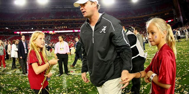 GLENDALE, AZ - JANUARY 11: Offensive coordinator Lane Kiffin of the Alabama Crimson Tide celebrates after defeating the Clemson Tigers in the 2016 College Football Playoff National Championship Game at University of Phoenix Stadium on January 11, 2016 in Glendale, Arizona. The Crimson Tide defeated the Tigers with a score of 45 to 40. (Photo by Ronald Martinez/Getty Images)