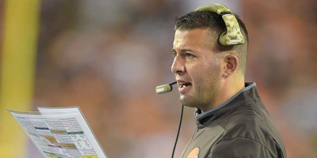 Nov 5, 2015; Cincinnati, OH, USA; Cleveland Browns offensive coordinator John DeFilippo reacts during an NFL football game against the Cincinnati Bengals at Paul Brown Stadium. Mandatory Credit: Kirby Lee-USA TODAY Sports