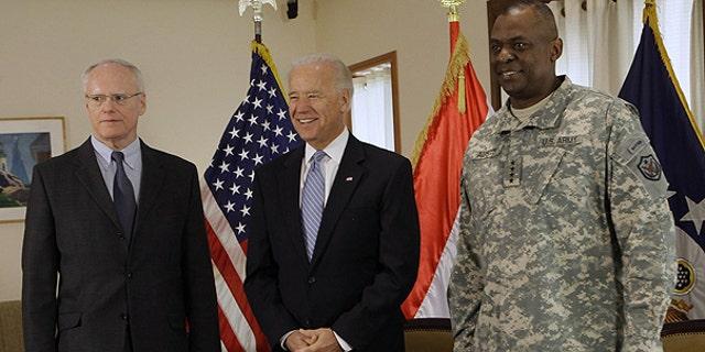 Jan. 13: U.S. Vice President Joe Biden, center, is seen with Ambassador to Iraq James F. Jeffrey, left, and Gen. Lloyd Austin, the top U.S. commander in Iraq, in Baghdad, Iraq.
