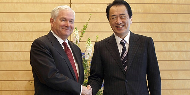 Jan. 13: .S. Secretary of Defense Robert Gates, left, meets with Japan's Prime Minister Naoto Kan at prime minister's official residence in Tokyo.