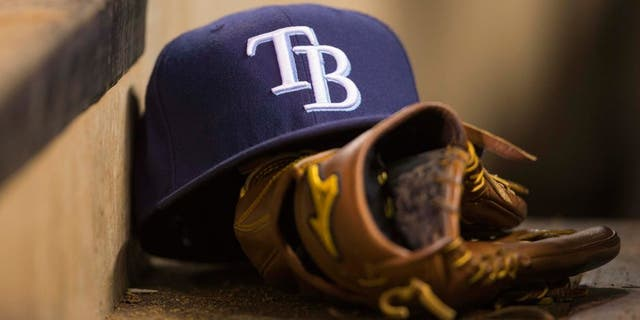 Sep 13, 2013; Minneapolis, MN, USA; A general view of a Tampa Bay Rays hat in the dugout during the fifth sixth inning against the Minnesota Twins at Target Field. Mandatory Credit: Jesse Johnson-USA TODAY Sports