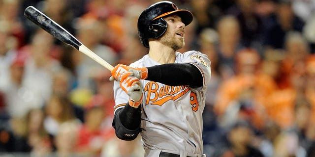 WASHINGTON, DC - SEPTEMBER 22: Chris Davis #19 of the Baltimore Orioles bats against the Washington Nationals at Nationals Park on September 22, 2015 in Washington, DC. (Photo by G Fiume/Getty Images)