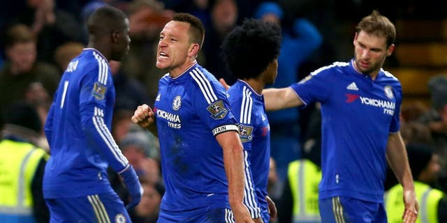 LONDON, ENGLAND - JANUARY 16: John Terry of Chelsea celebrates scoring his team's third goal during the Barclays Premier League match between Chelsea and Everton at Stamford Bridge on January 16, 2016 in London, England. (Photo by Clive Rose/Getty Images)