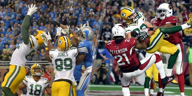 January 16, 2016; Glendale, AZ, USA; Green Bay Packers wide receiver Jeff Janis (83) catches a touchdown pass against Arizona Cardinals cornerback Patrick Peterson (21) and free safety Rashad Johnson (26) during the second half in a NFC Divisional round playoff game at University of Phoenix Stadium. Mandatory Credit: Kyle Terada-USA TODAY Sports Dec 3, 2015; Detroit, MI, USA; Green Bay Packers tight end Richard Rodgers (82) catches a 61-yard touchdown pass with no time remaining during an NFL football game against the Detroit Lions at Ford Field. The Packers defeated the Lions 27-23. Mandatory Credit: Kirby Lee-USA TODAY Sports