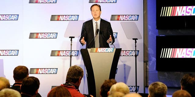 CHARLOTTE, NC - JANUARY 26: Brian France, CEO and Chairman of NASCAR, speaks during the NASCAR Sprint Media Tour at the Charlotte Convention Center on January 26, 2015 in Charlotte, North Carolina. (Photo by Jared C. Tilton/NASCAR via Getty Images)