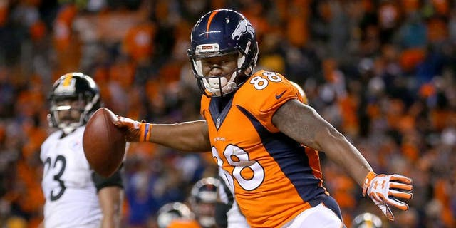 DENVER, CO - JANUARY 17: Demaryius Thomas #88 of the Denver Broncos celebrates after scoring the two point conversion in the fourth quarter against the Pittsburgh Steelers during the AFC Divisional Playoff Game at Sports Authority Field at Mile High on January 17, 2016 in Denver, Colorado. (Photo by Justin Edmonds/Getty Images)