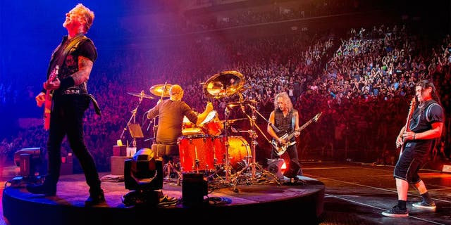 QUEBEC CITY, CANADA - SEPTEMBER 16: (L to R) James Hetfield, Lars Ulrich, Kirk Hammett, and Robert Trujillo of Metallica performing at Centre Videotron on September 16, 2015 in Quebec City, Canada. (Photo by Jeff Yeager/Michael Ochs Archives/Getty Images)