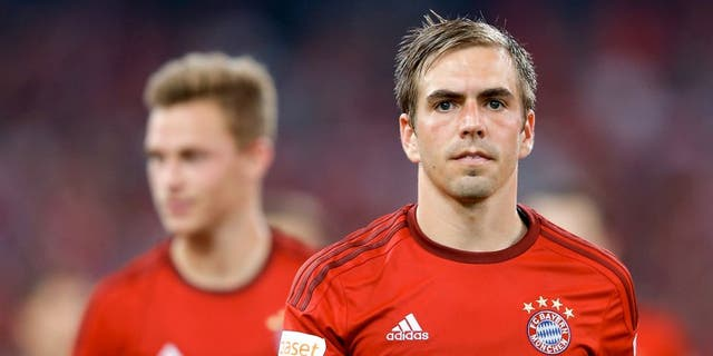 BEIJING, CHINA - JULY 18: Phillip Lahm of FC Bayern Muenchen looks on during the international friendly match between FC Bayern Muenchen and Valencia FC during the Audi Football Summit Beijing 2015 at National Stadium on July 18, 2015 in Beijing, China. (Photo by Lintao Zhang/Getty Images)
