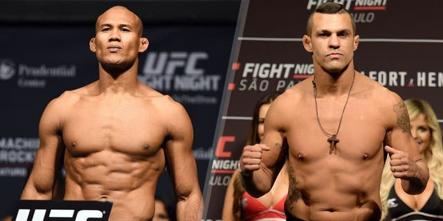 NEWARK, NJ - APRIL 17: Ronaldo 'Jacare' Souza of Brazil steps on the scale during the UFC Fight Night weigh-in event at the Prudential Center on April 17, 2015 in Newark, New Jersey. (Photo by Jeff Bottari/Zuffa LLC/Zuffa LLC via Getty Images) SAO PAULO, BRAZIL - NOVEMBER 06: Vitor Belfort of Brazil weighs in during the UFC Fight Night weigh-in at Ibirapuera Gymnasium on November 06, 2015 in Sao Paulo, Brazil. (Photo by Buda Mendes/Zuffa LLC/Zuffa LLC via Getty Images)