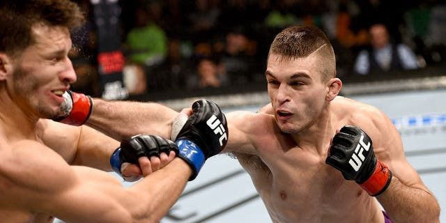 BOSTON, MA - JANUARY 18: (R-L) Johnny Case punches Frankie Perez in their lightweight fight during the UFC Fight Night event at the TD Garden on January 18, 2015 in Boston, Massachusetts. (Photo by Jeff Bottari/Zuffa LLC/Zuffa LLC via Getty Images)