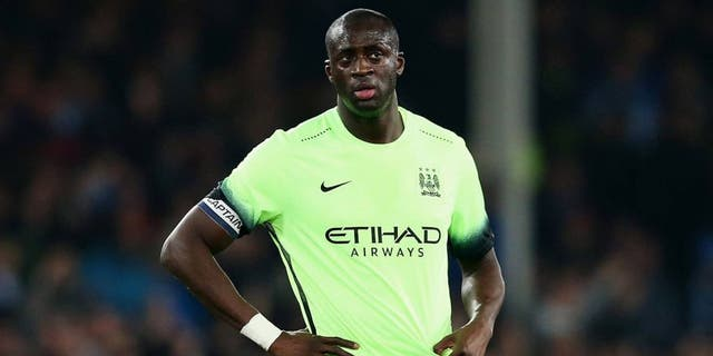 LIVERPOOL, ENGLAND - JANUARY 06: Yaya Toure of Manchester City looks dejected after the goal scored by Romelu Lukaku of Everton during the Capital One Cup Semi Final First Leg match between Everton and Manchester City at Goodison Park on January 6, 2016 in Liverpool, England. (Photo by Alex Livesey/Getty Images)
