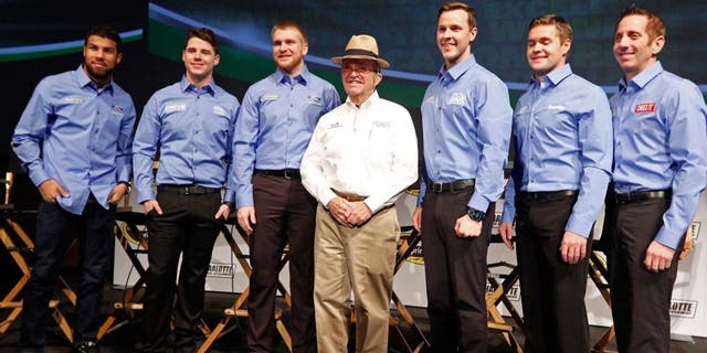 CHARLOTTE, NC - JANUARY 20: The Roush Fenway racing team stands for a photo with owner Jack Roush in the middle during the second day of the NASCAR 2016 Charlotte Motor Speedway Media Tour on January 20, 2016 in Charlotte, North Carolina. (Photo by Bob Leverone/NASCAR via Getty Images)