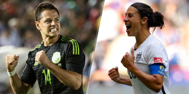 PASADENA, CA - OCTOBER 10: Javier Hernandez #14 of Mexico celebrates the first goal of the match during the CONCACAF Cup between the United States and Mexico at the Rose Bowl on October 10, 2015 in Pasadena, California. (Photo by Shaun Clark/Getty Images) VANCOUVER, BC - JULY 05: Carli Lloyd #10 of the United States celebrates scoring the opening goal against Japan in the FIFA Women's World Cup Canada 2015 Final at BC Place Stadium on July 5, 2015 in Vancouver, Canada. (Photo by Kevin C. Cox/Getty Images)