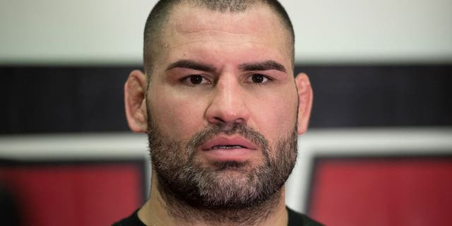 SAN JOSE, CA - JANUARY 05: Cain Velasquez speaks to the media after his workout during a media day at American Kickboxing Academy on January 5, 2016 in San Jose, California. (Photo by Brandon Magnus/Zuffa LLC/Zuffa LLC via Getty Images)
