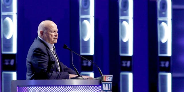 CHARLOTTE, NC - JANUARY 23: Bruton Smith makes his acceptance speech at the Charlotte Convention Center on January 23, 2016 in Charlotte, North Carolina. (Photo by Bob Leverone/NASCAR via Getty Images)
